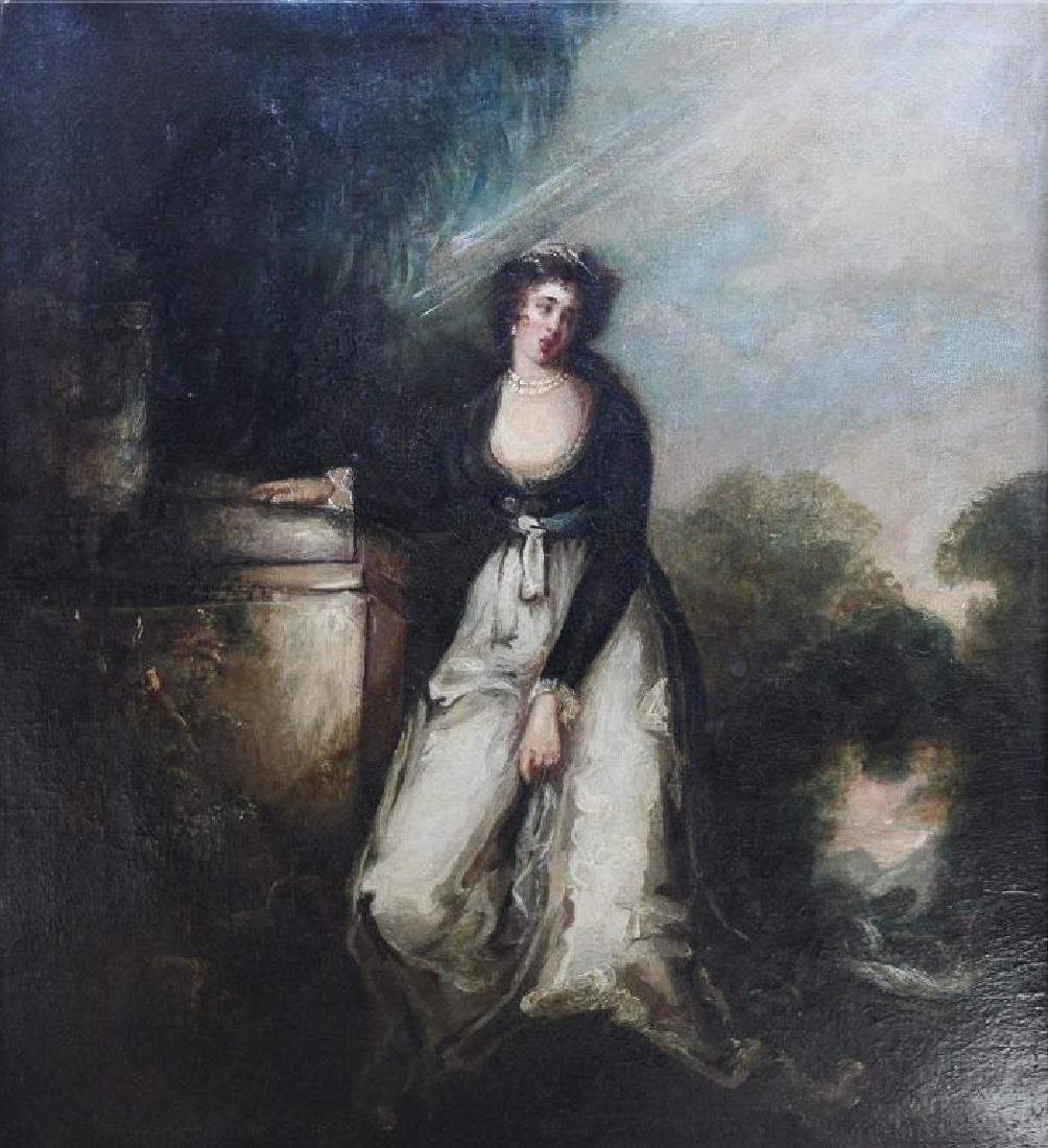 Romantic Period Portrait Oil on Board