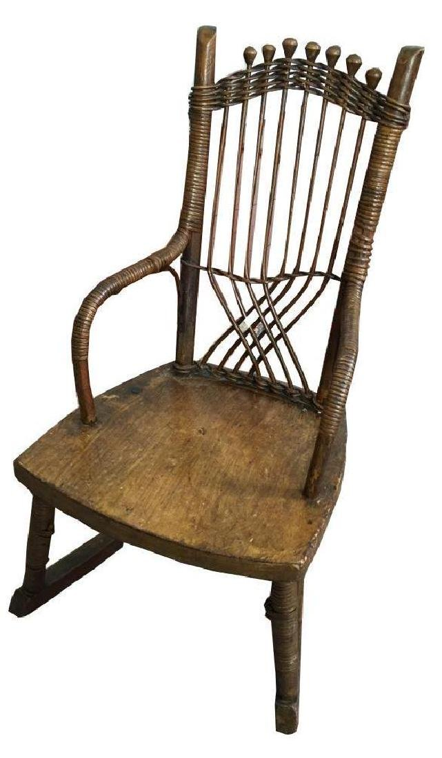 19thc Primitive Child's Cane Rocking Chair