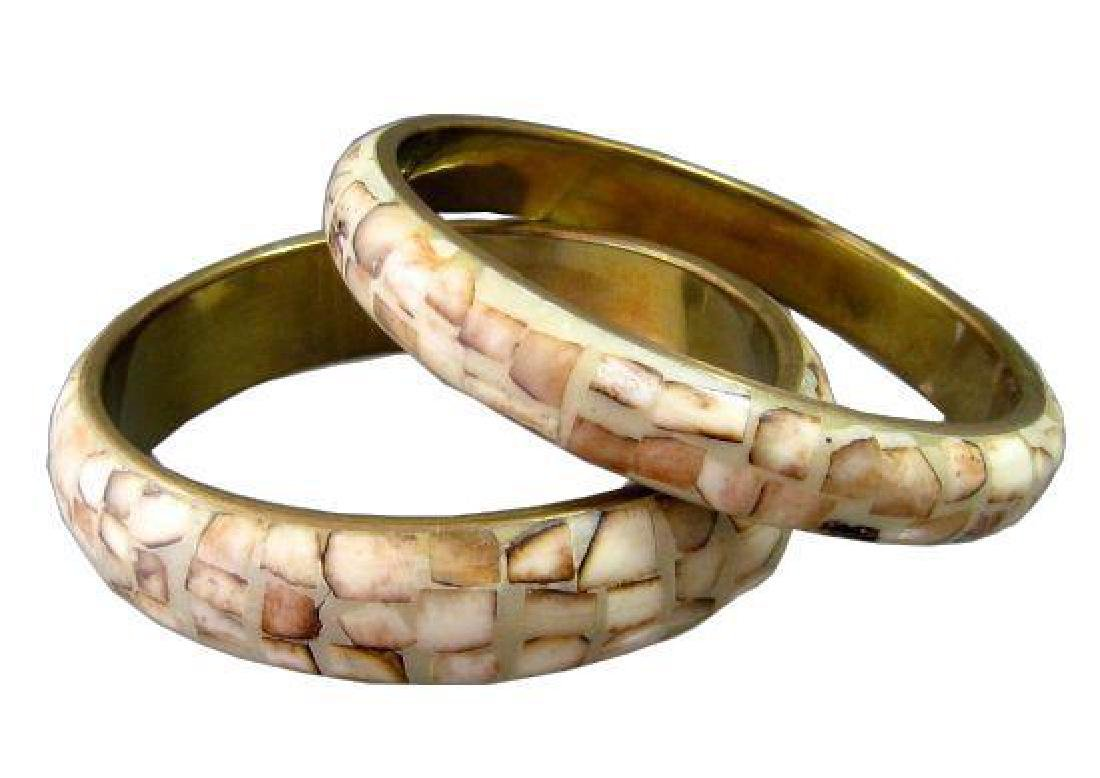 Pair of Vintage Brass & Inlaid Bone Bracelets