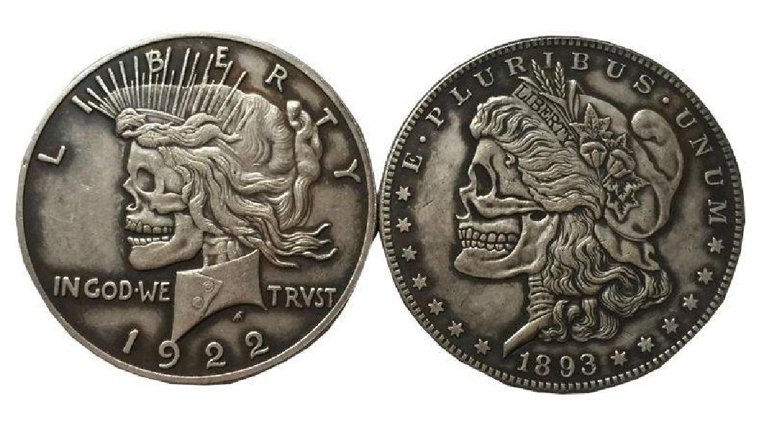 Rare Double Hobo Skull Style Coin 1922-1893 Silver Clad