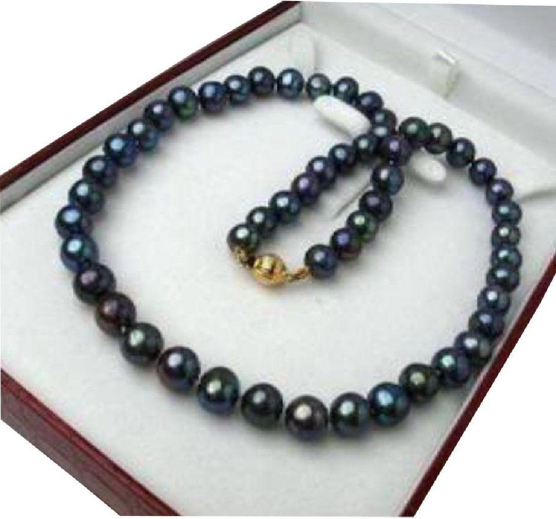 9-10mm Black Tahitian Cultured Pearl Necklace