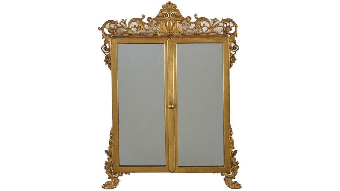 French 19c Gilt Brass Folding Vanity Mirror