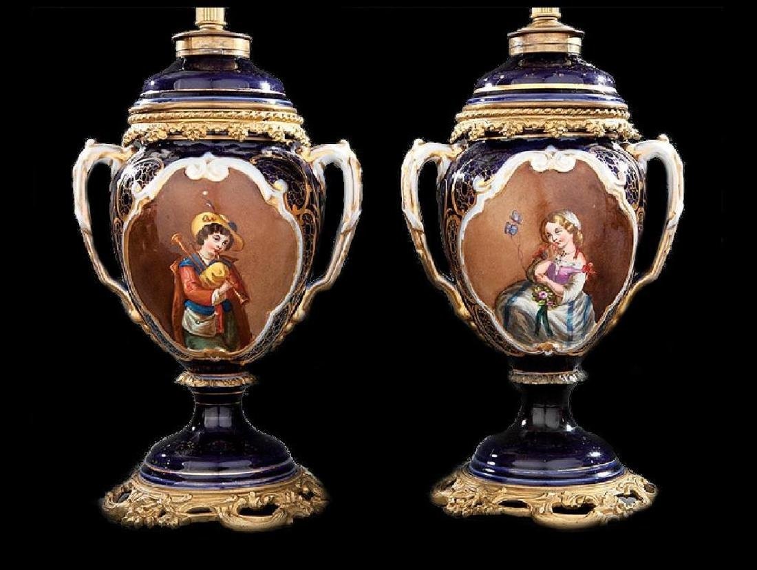 Pair of Bronze-Mounted Paris Porcelain Vases