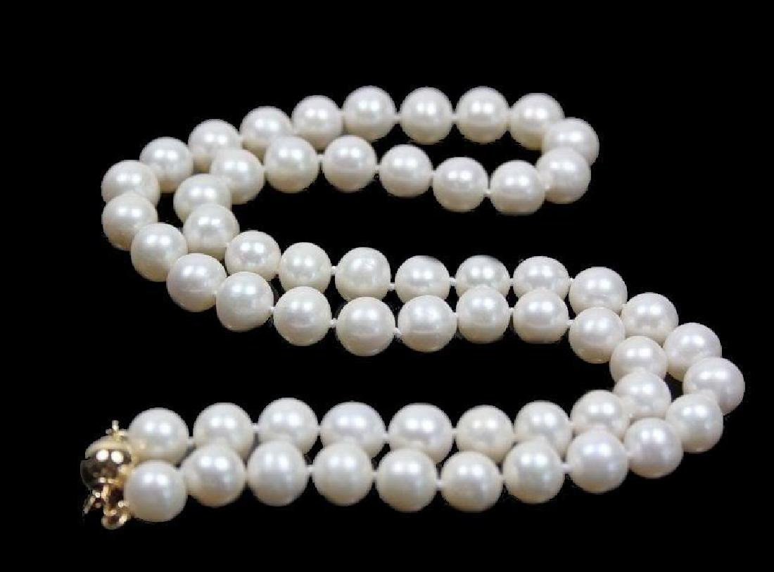 Aaa+ 8-9mm White Akoya Cultured Round Pearl Necklace