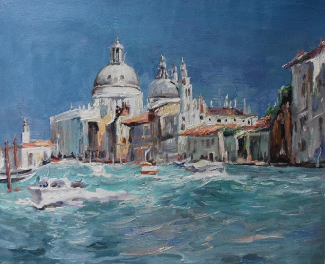 Signed Italian Impressionist Landscape Oil Painting,