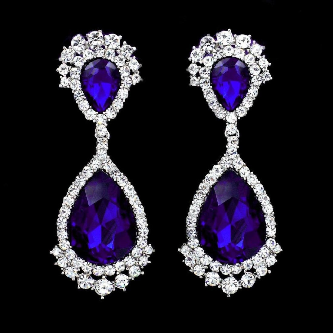 Rhodium Plated Blue Crystal Rhinestone Chandelier Drop