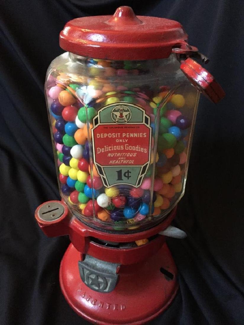 Vintage 1930's Columbus Penny Gumball Machine