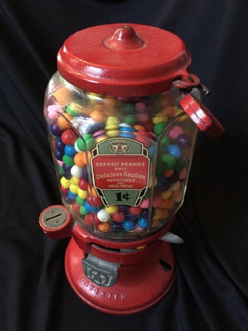 Vintage 1930's Columbus Penny Gumball Machine - 2
