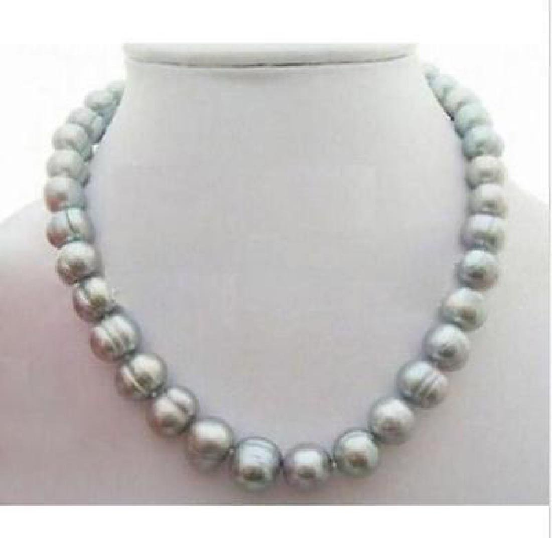 """18"""" Aaa 10 -11 Mm South Sea Natural Gray Pearl Necklace"""