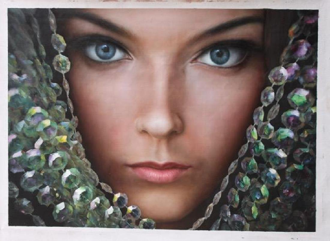 Signed Oil on Canvas Painting, Jeweled Lady