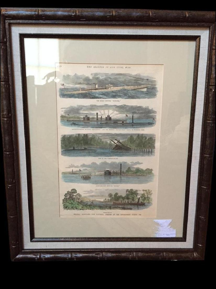 c1864 Hand-colored Engravings, Federal Ironclads