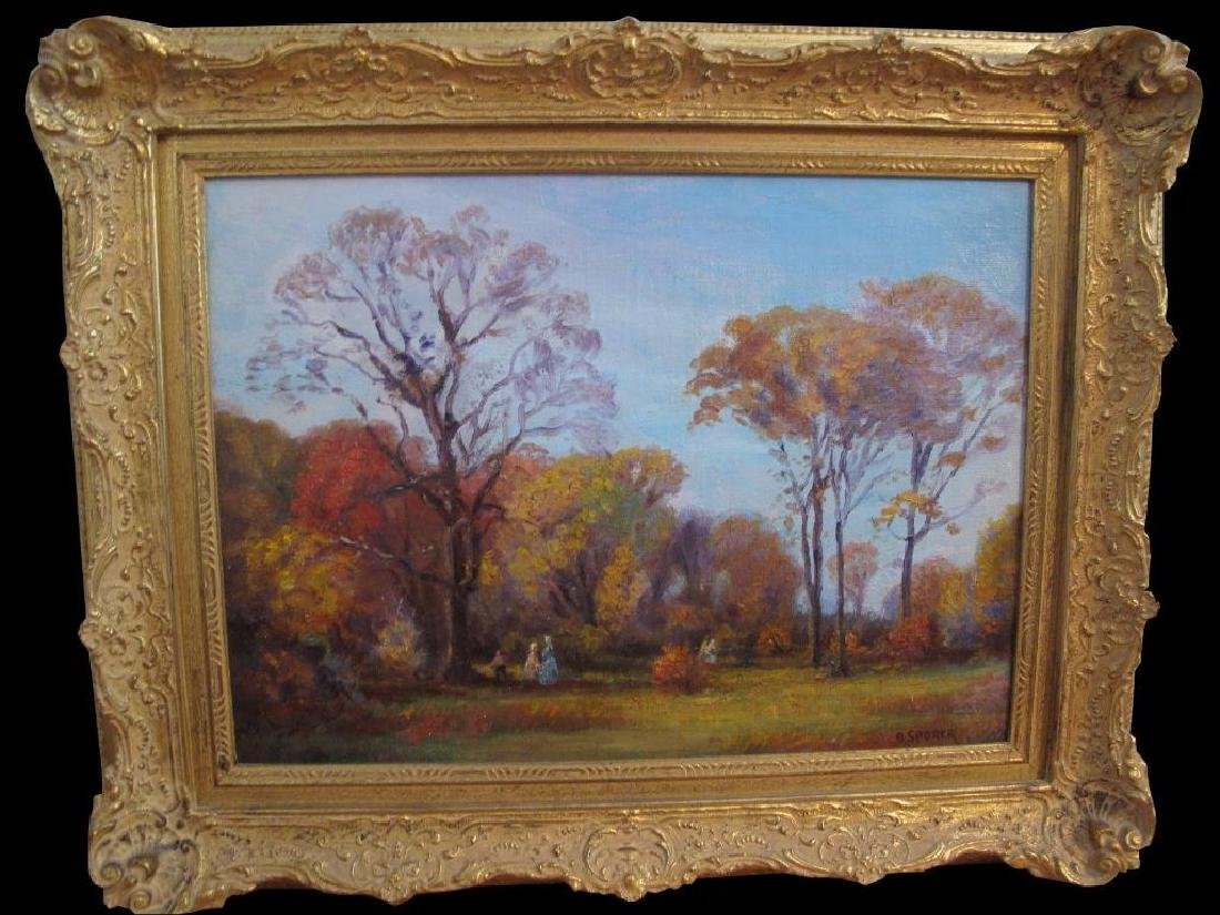 "Antique Original Oil Painting On Canvas ""autumn"" Signed"