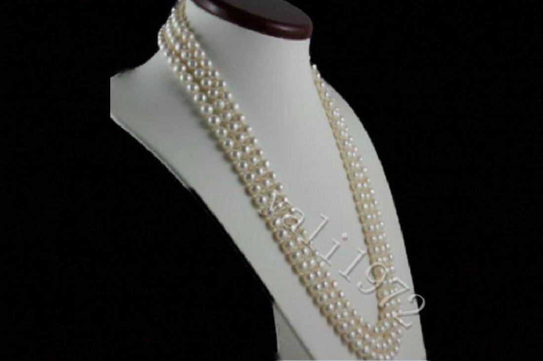 14K Clasp AAA+ 8-9mm white Akoya round pearl necklace - 2