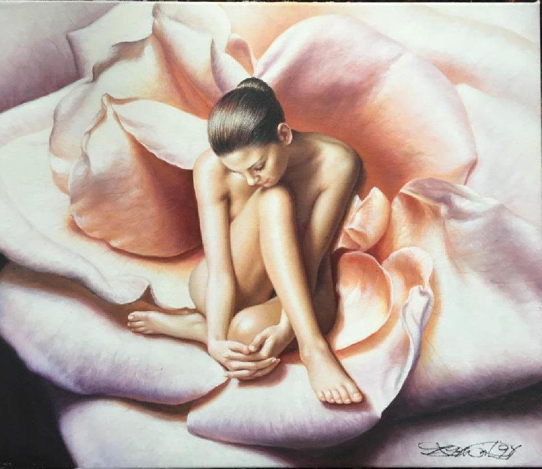 American Beauty, Signed Nude Oil Painting