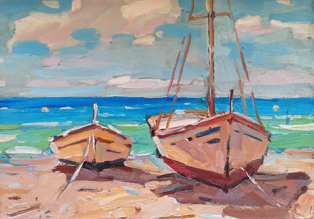 Yacht seascape realism original oil painting colorful