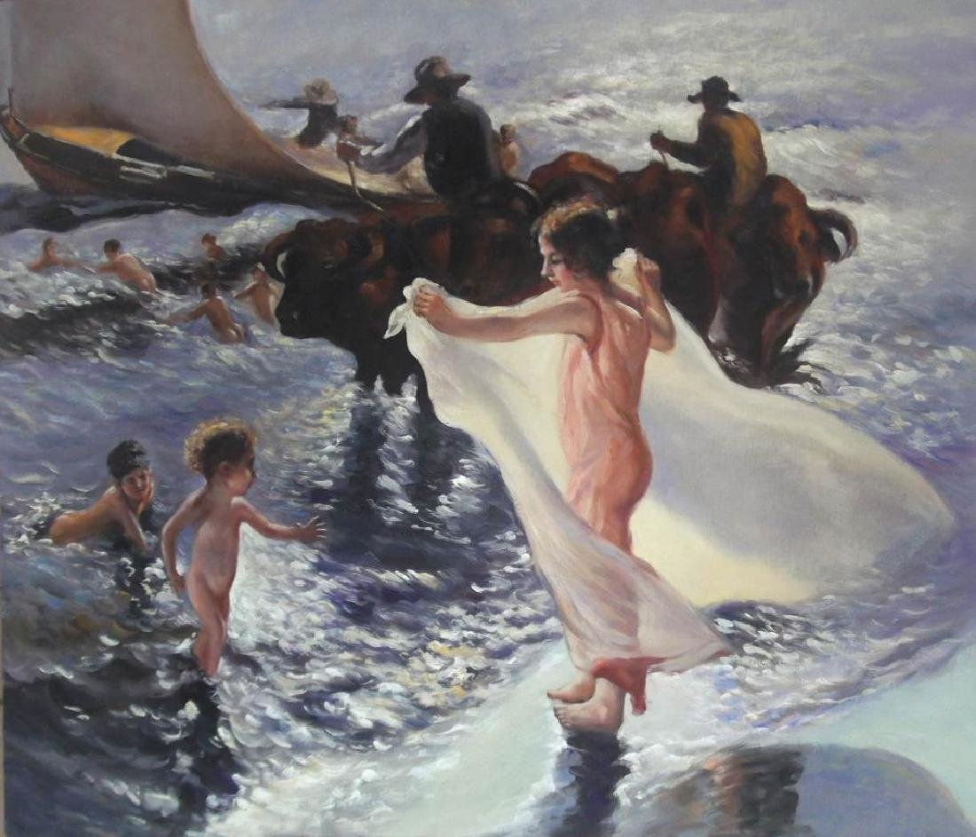 Student of Lambert, Sea Bathing, Oil Painting