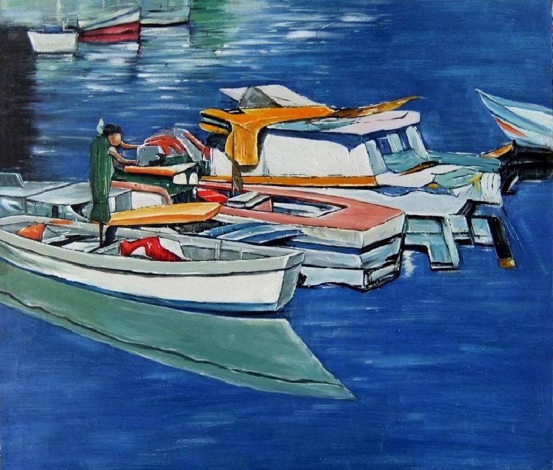Caribbean Blue St Maarten, Oil on Board painting