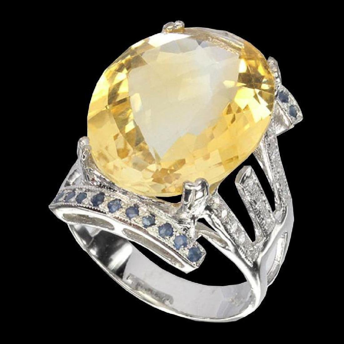Yellow Citrine, Sapphire & Sterling Cocktail Ring