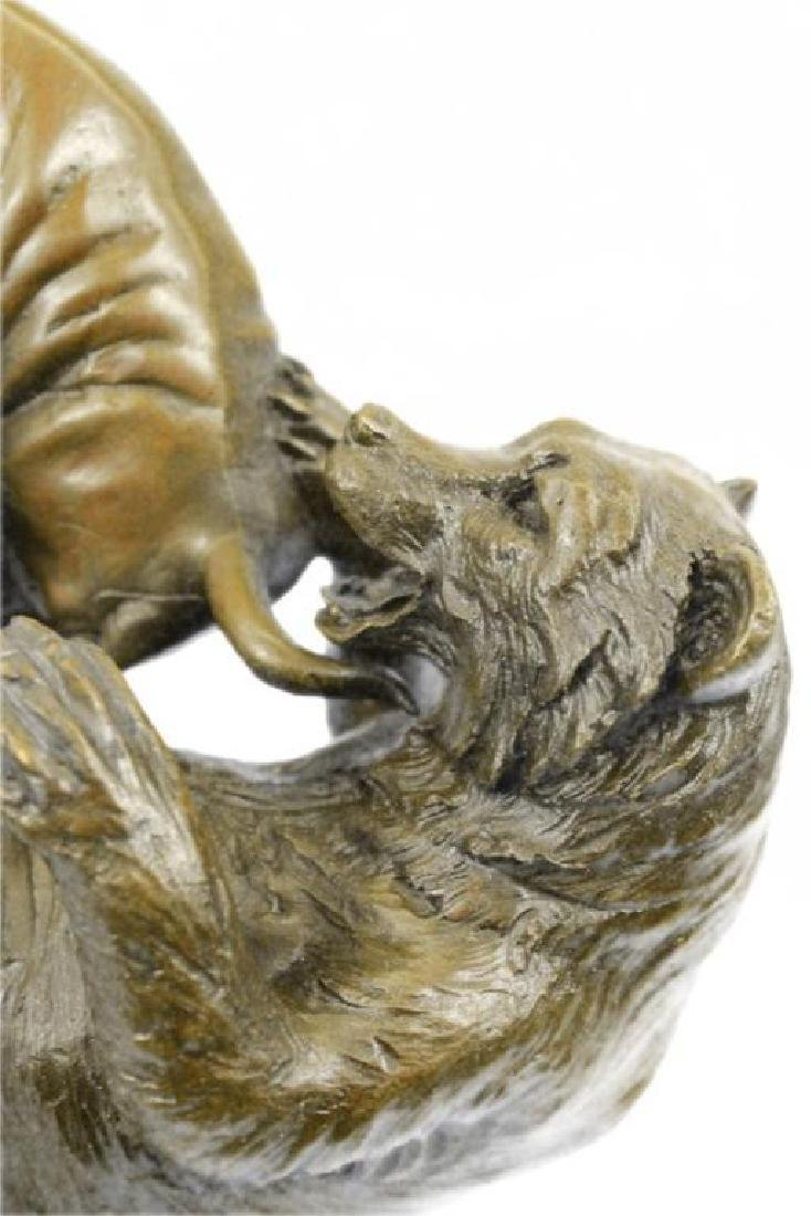 Hot Cast Stock Market Bull Vs Bear Bronze Sculpture - 6