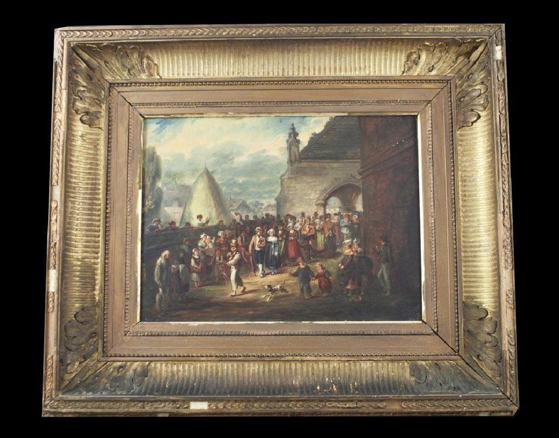 19thc Signed Oil Painting, Festival