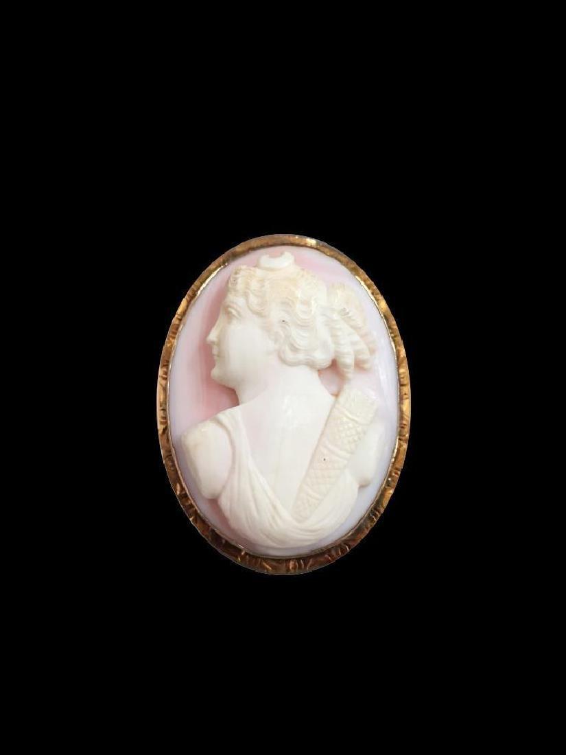 19thc Diana Huntress Coral & Gold Cameo