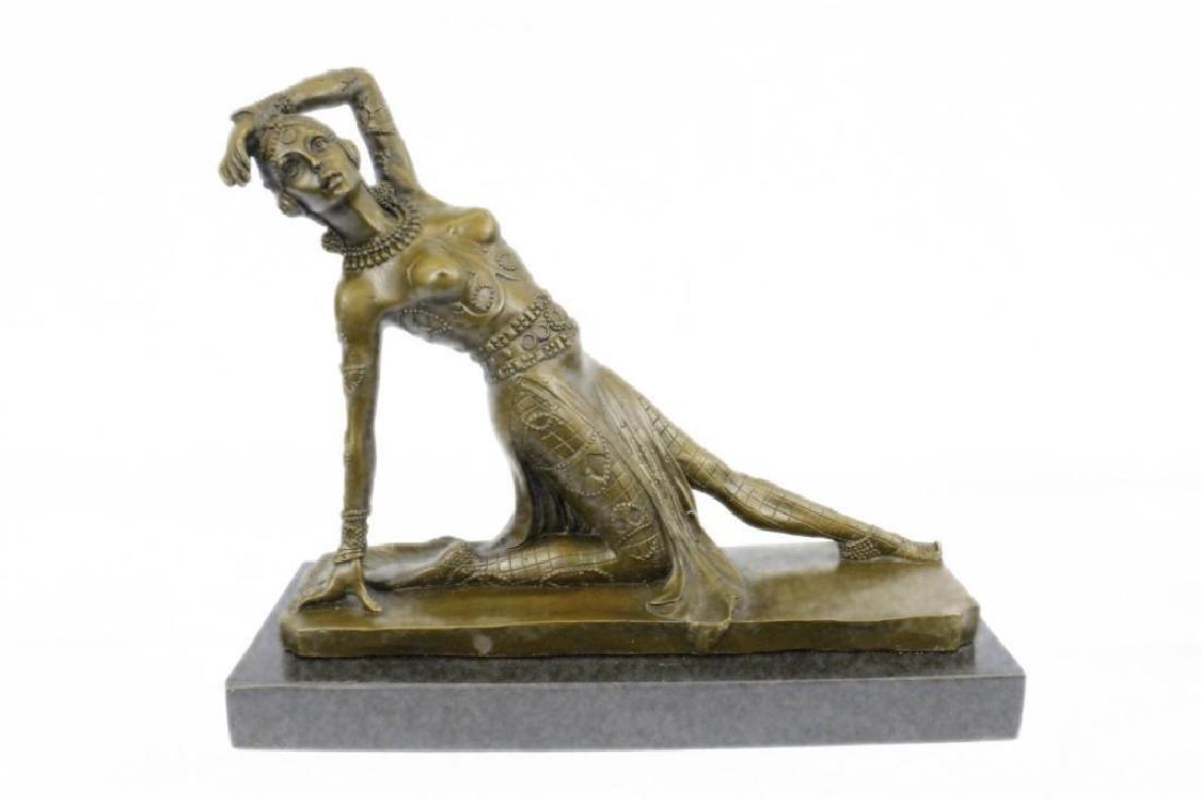 Art Deco Show Girl Dancer Bronze Sculpture Figurine