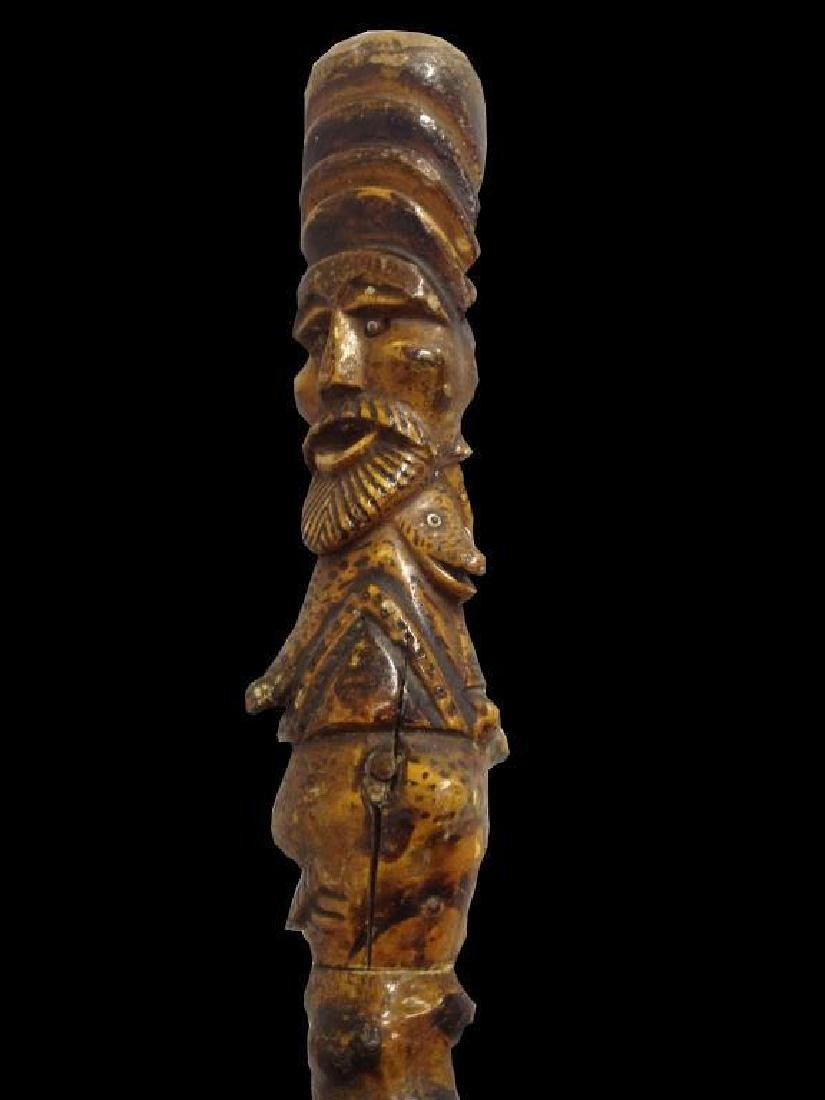 19thc Folk Art Walking Stick, Bearded Man