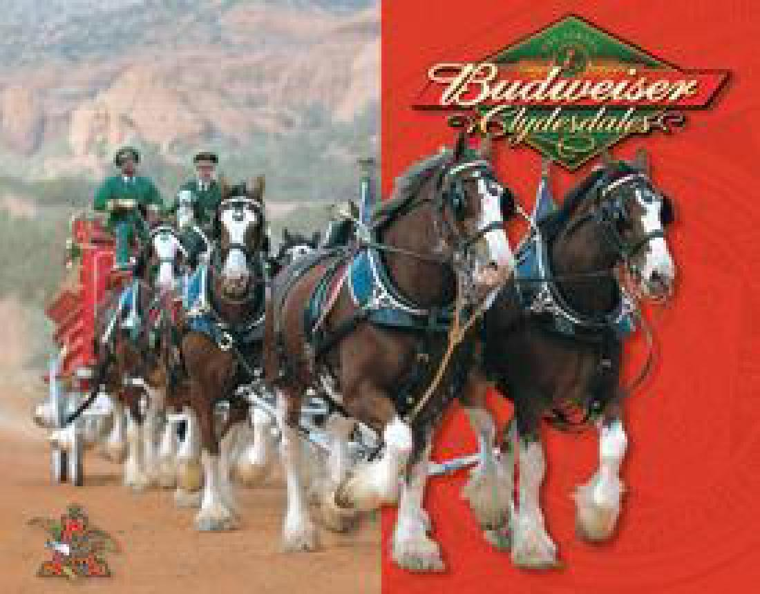 Budweiser - Clydesdales Metal Advertising Sign
