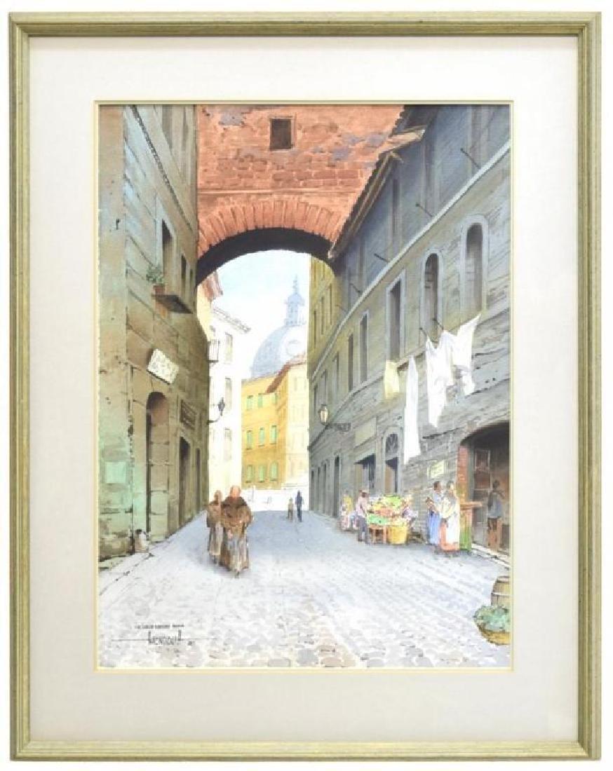 Signed Watercolor, Roman Street Scene
