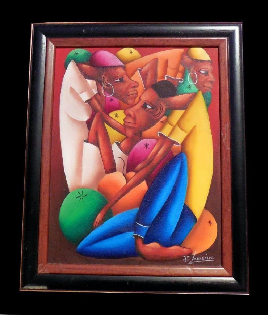 Jean Bruno Louisius Signed Haitian Acrylic On Canvas