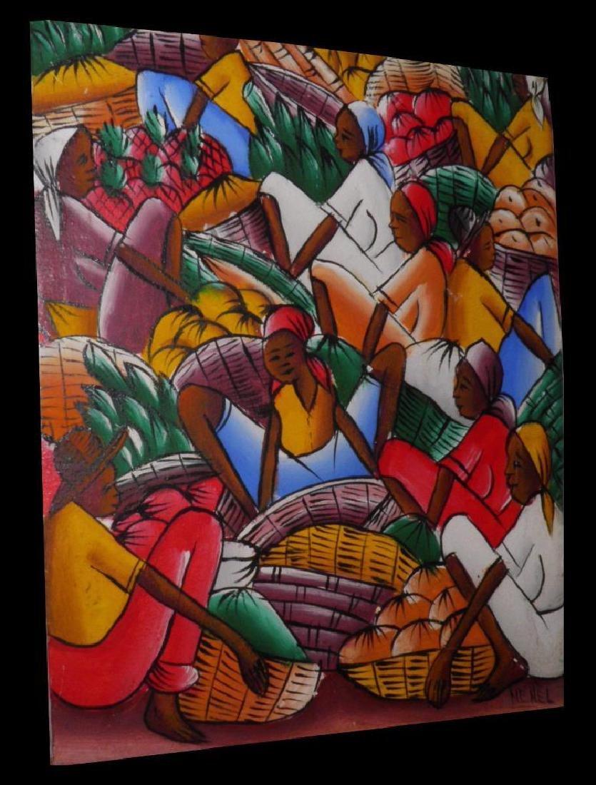 Signed Acrylic Painting, Haitian Farmers Market Ready