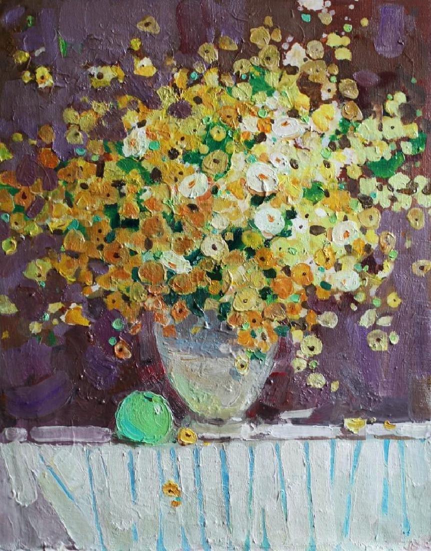 Original Still Life OIL Painting Spring Flowers little