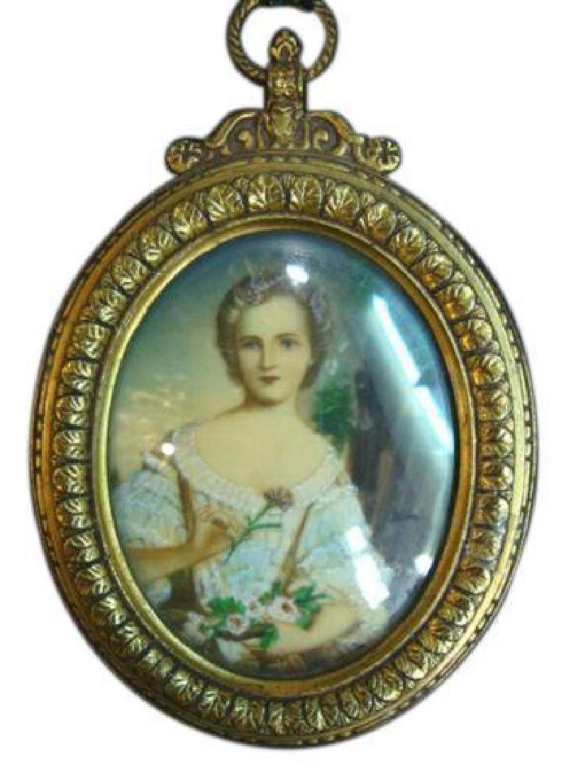 Antique Miniature Painting.    Young Lady Portrait
