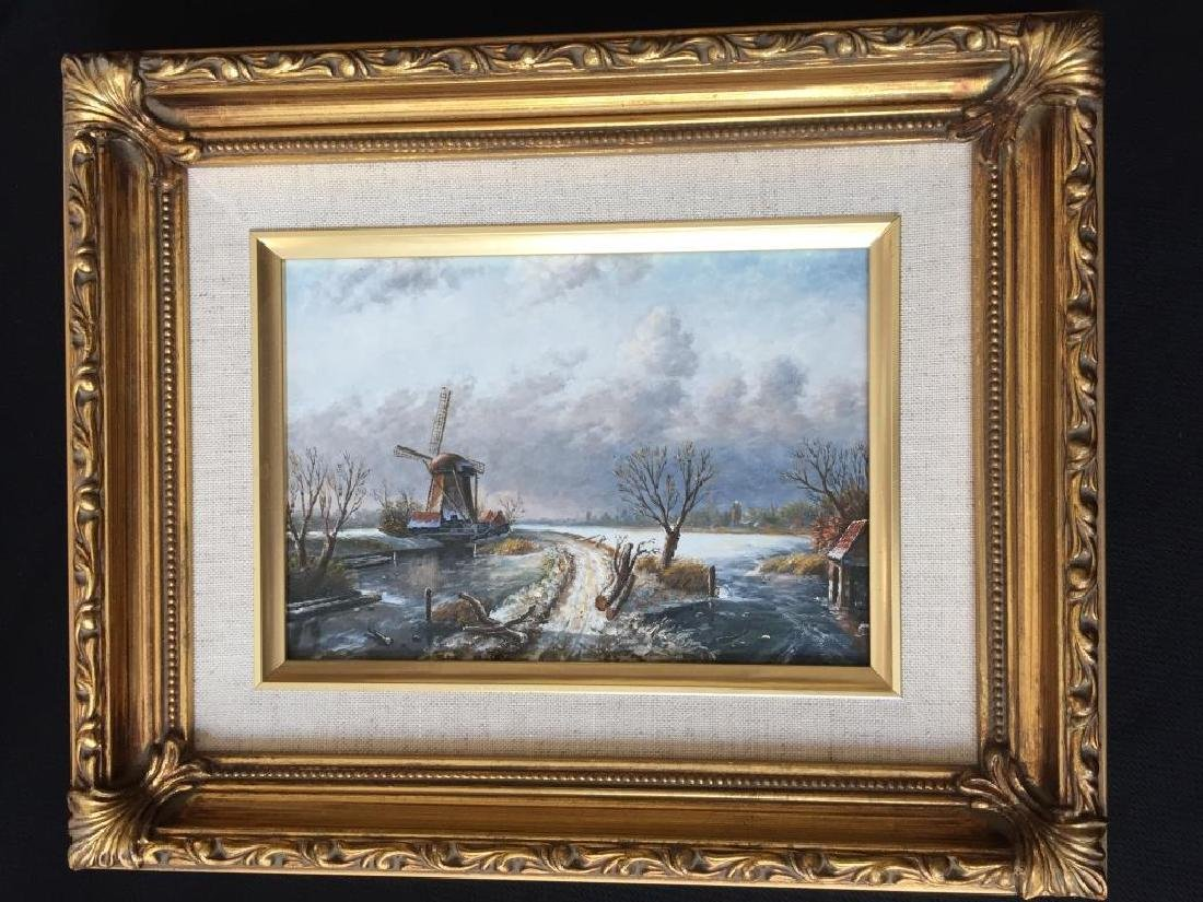 Dutch Winter Landscape Oil Painting