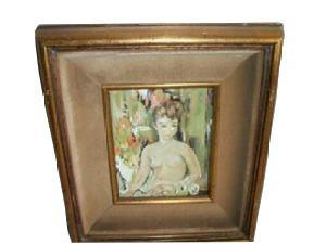 Nude Lady Oil Painting Hollywood Regency Chic Shabby