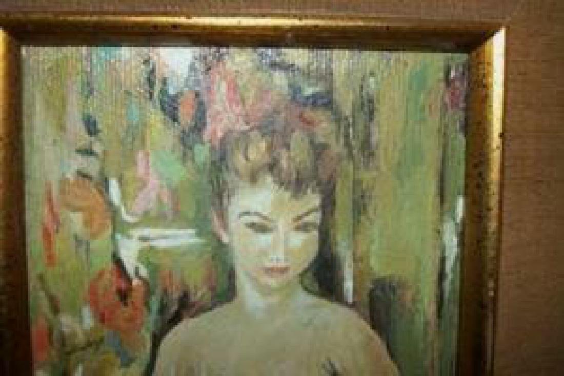 Nude Lady Oil Painting Hollywood Regency Chic Shabby - 3