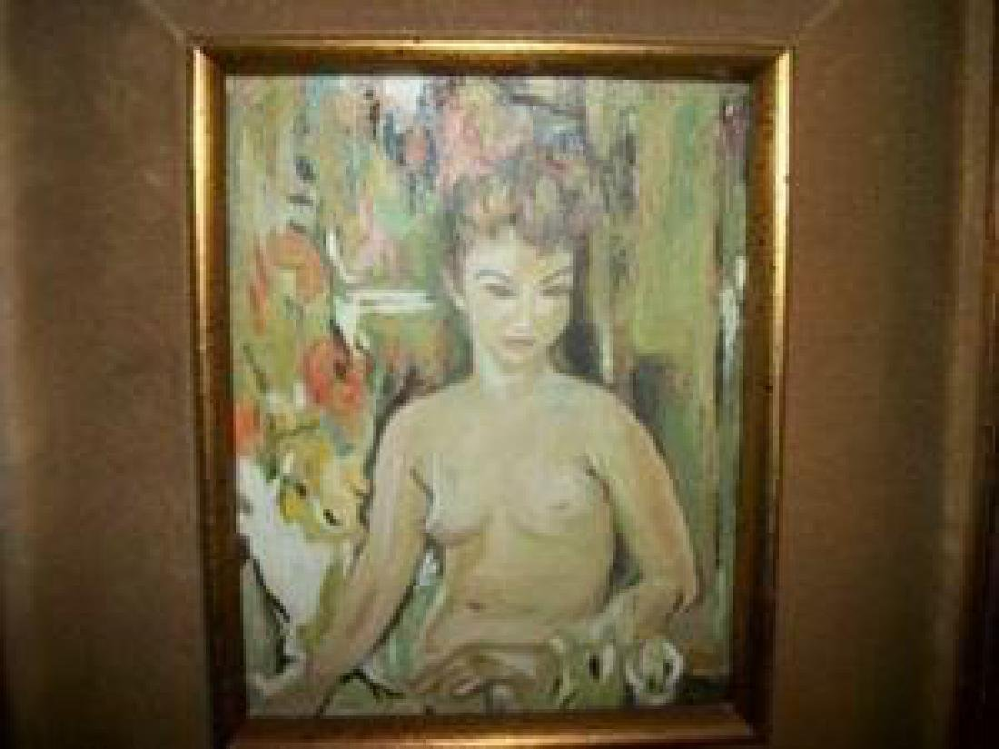 Nude Lady Oil Painting Hollywood Regency Chic Shabby - 5