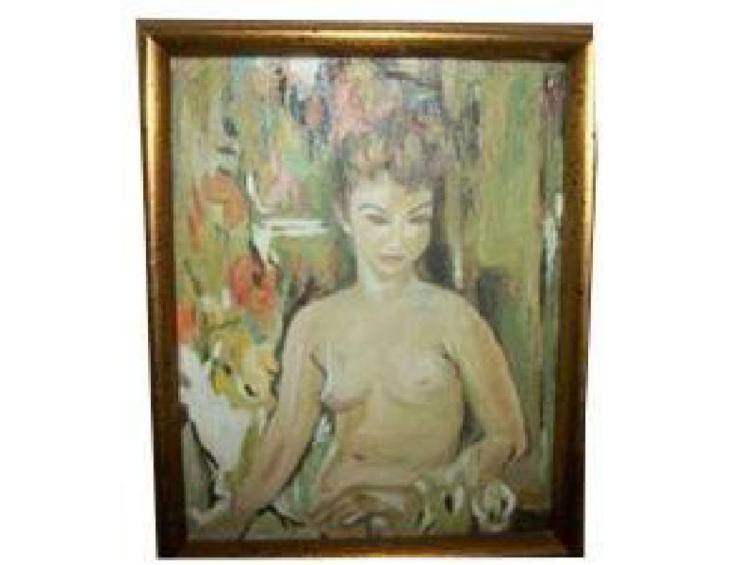 Nude Lady Oil Painting Hollywood Regency Chic Shabby - 6