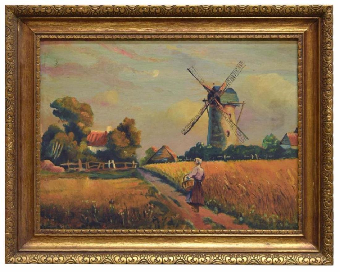 Framed Dutch School Oil Painting On Board