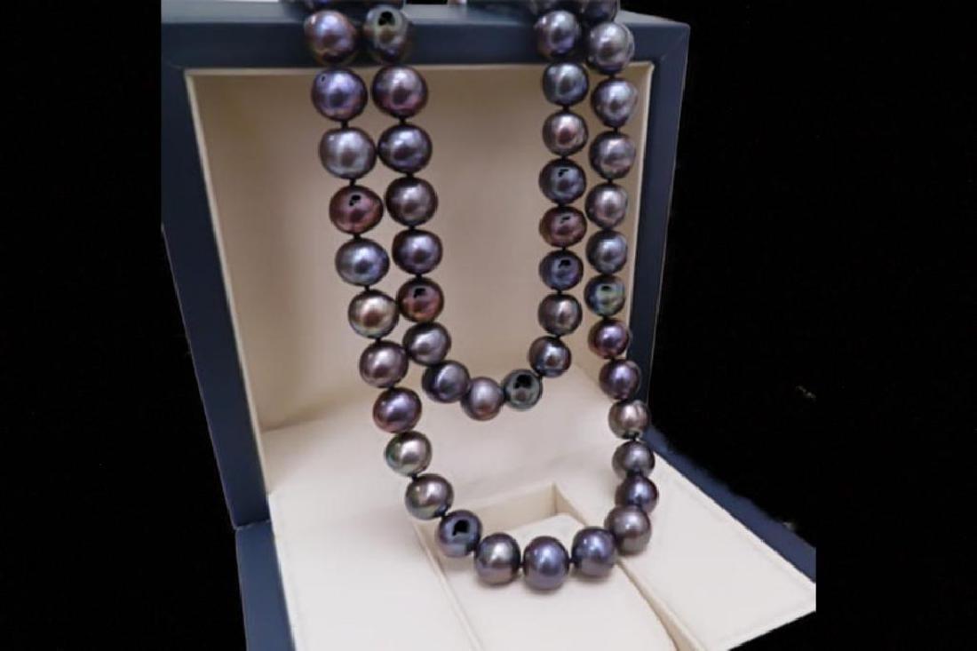 """Fabulous: 9-10mm Natural 18"""" Tahitian Black Pearl"""