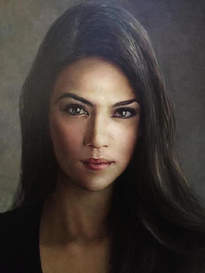 Signed Oil On Canvas, Brunette Beauty