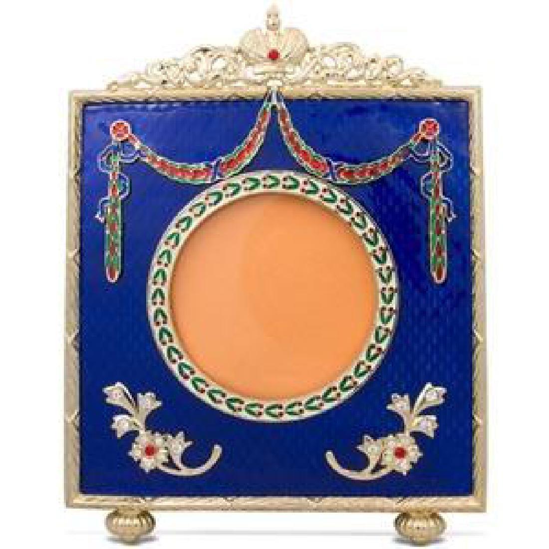 "Faberge Inspired 5"" Faberge Square Blue Enameled"