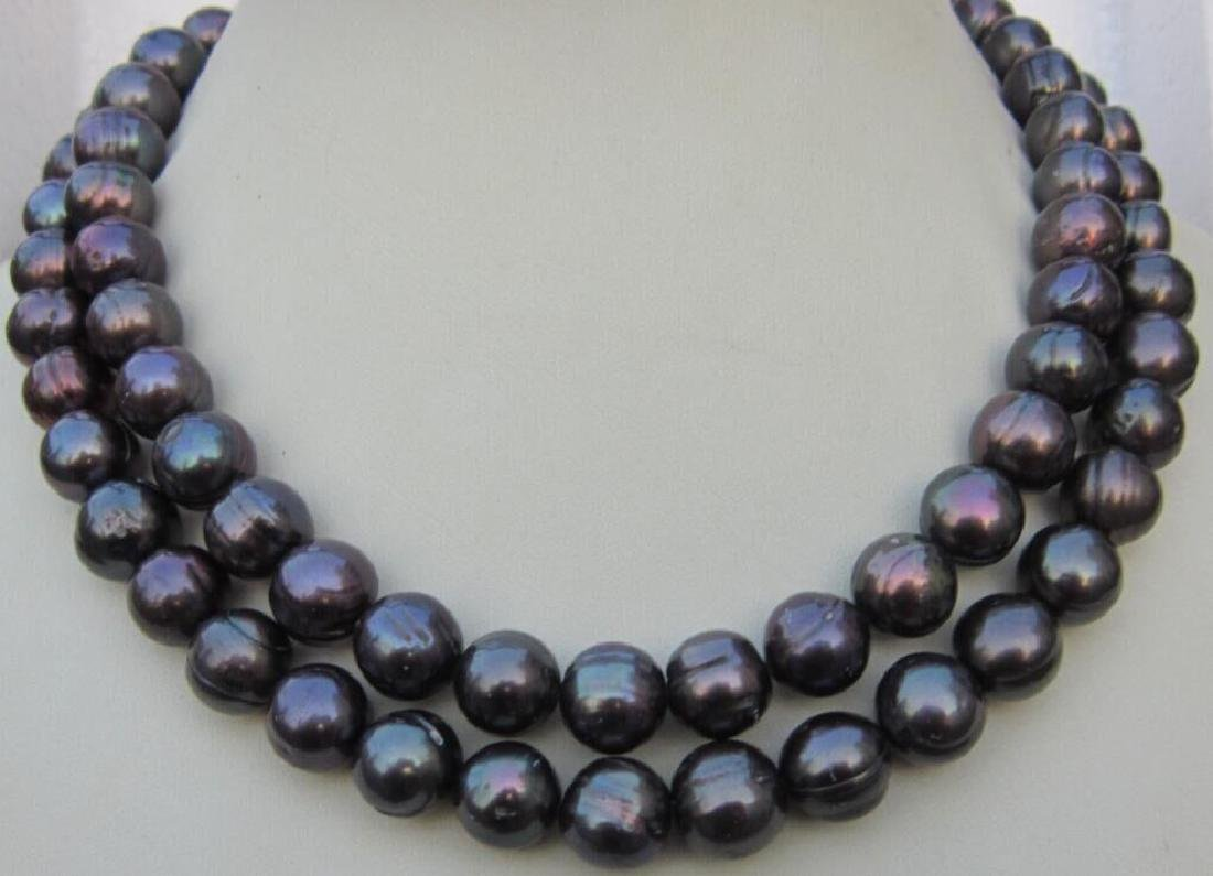 "36"" 11-13mm Natural South Sea Black Pearl Necklace"