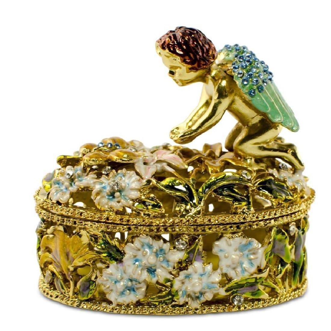 """2.75"""" Crystal Wings Angel With Flowers Rosary Keepsake"""
