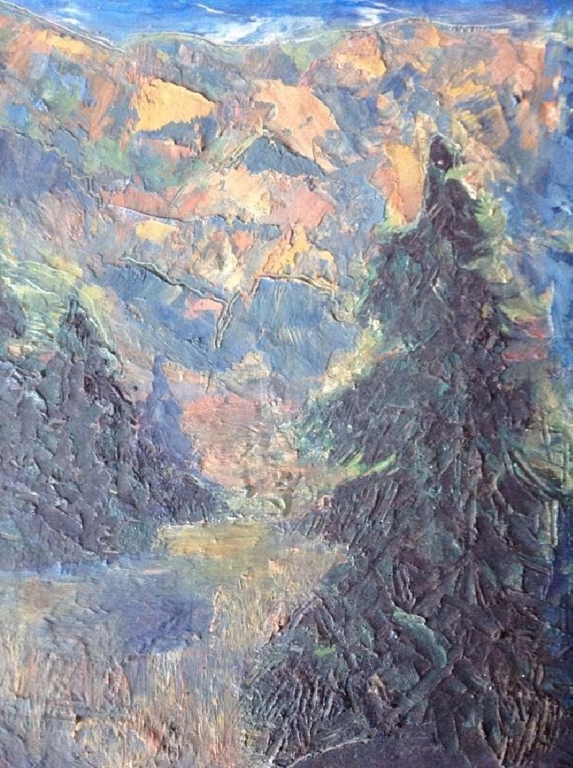Oil On Board Painting Pine Trees