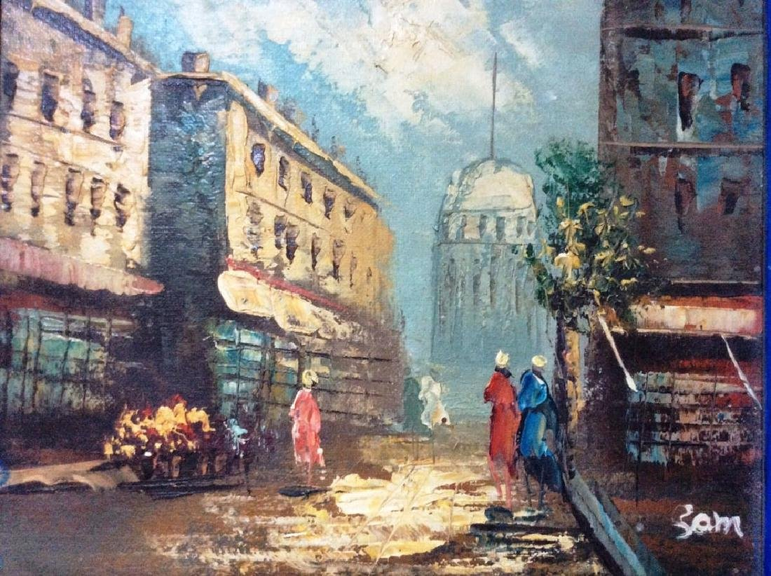 Street Scene , Vintage Oil On Canvas Board, Signed,