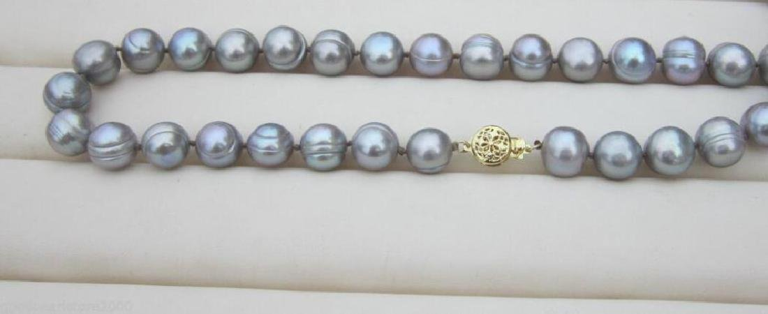 11-12mm Natural South Seas Silver Gray Pearl Necklace