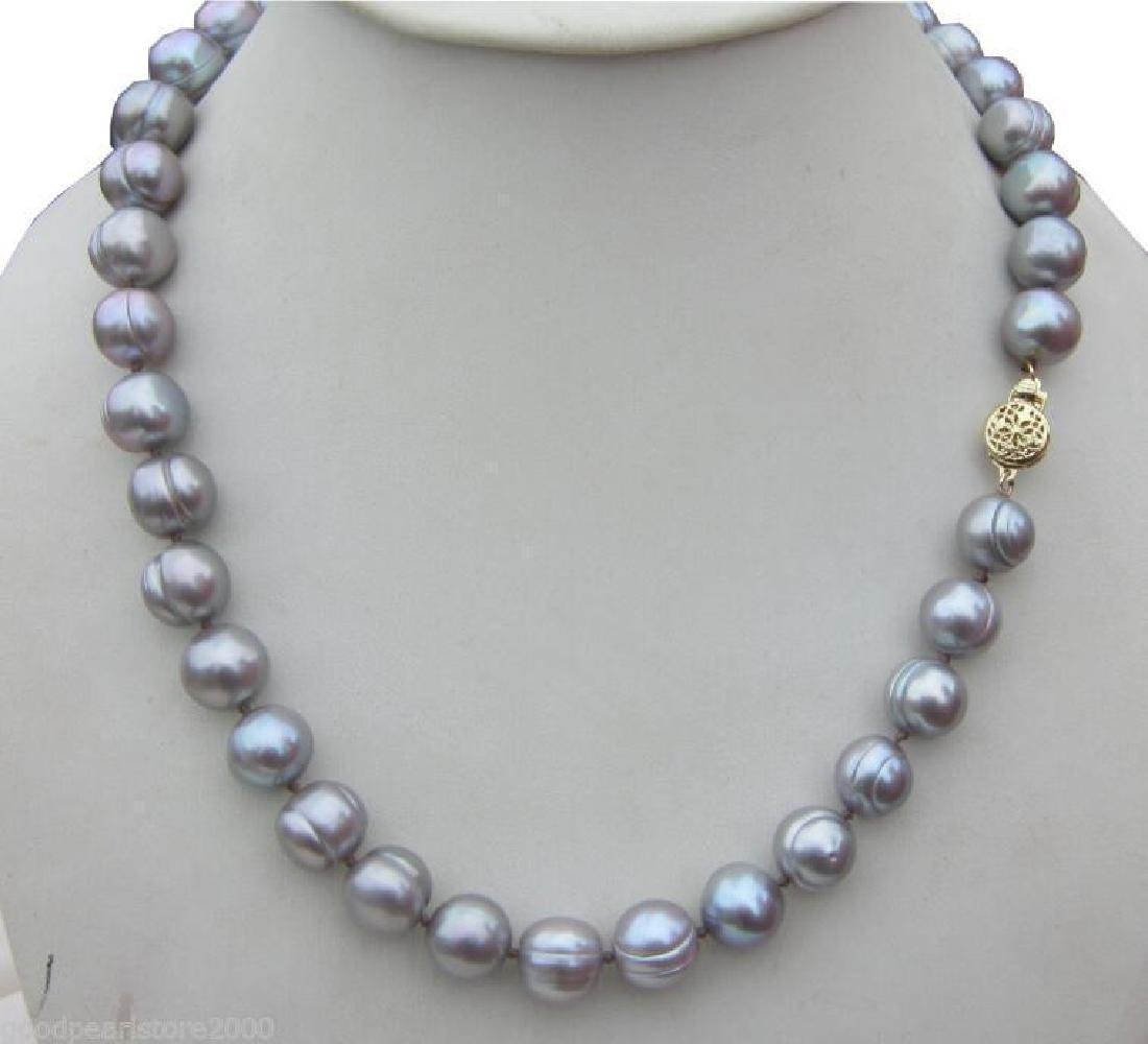 11-12mm Natural South Seas Silver Gray Pearl Necklace - 2