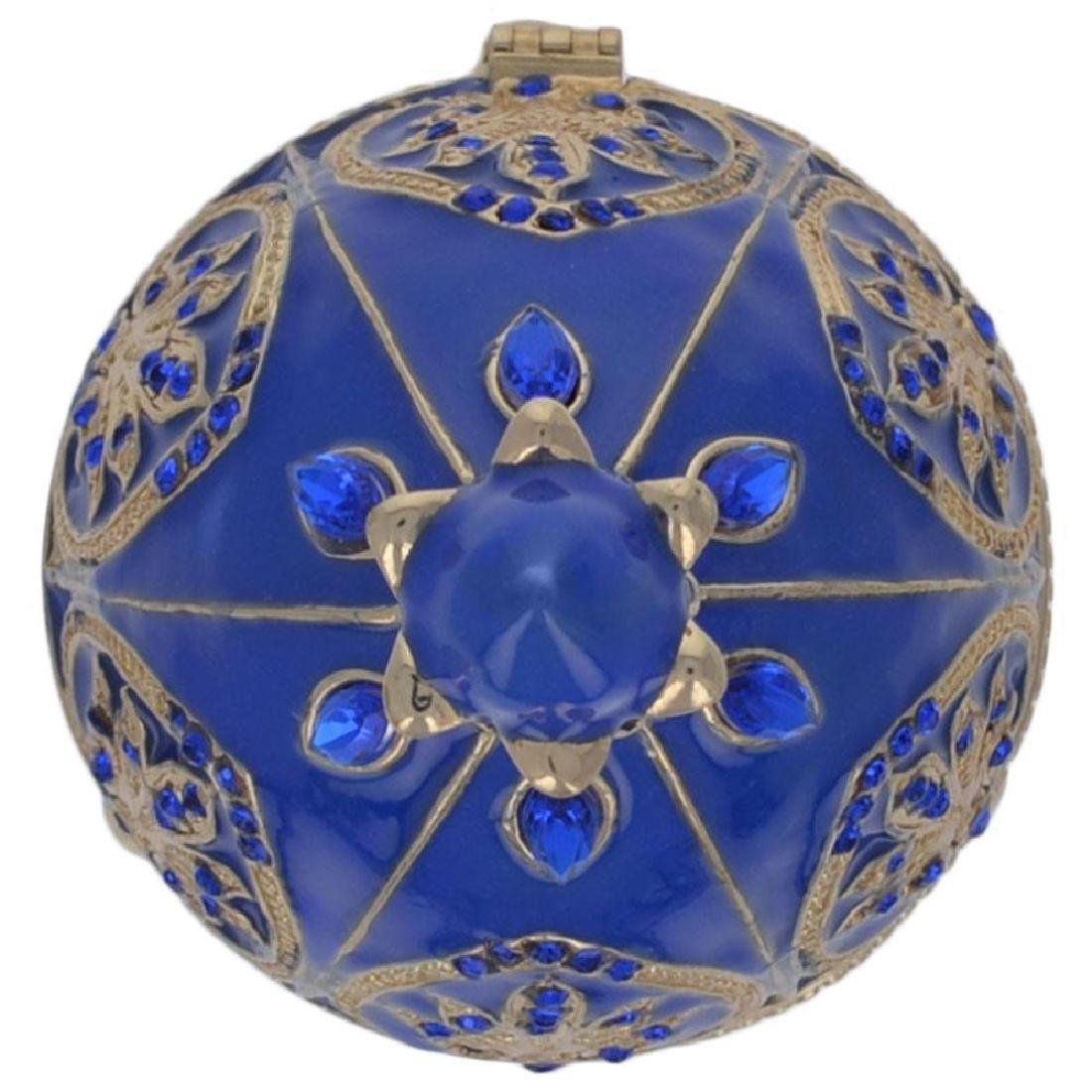 "4.5"" Blue Jewel Royal Crown Faberge Inspired Easter Egg - 4"