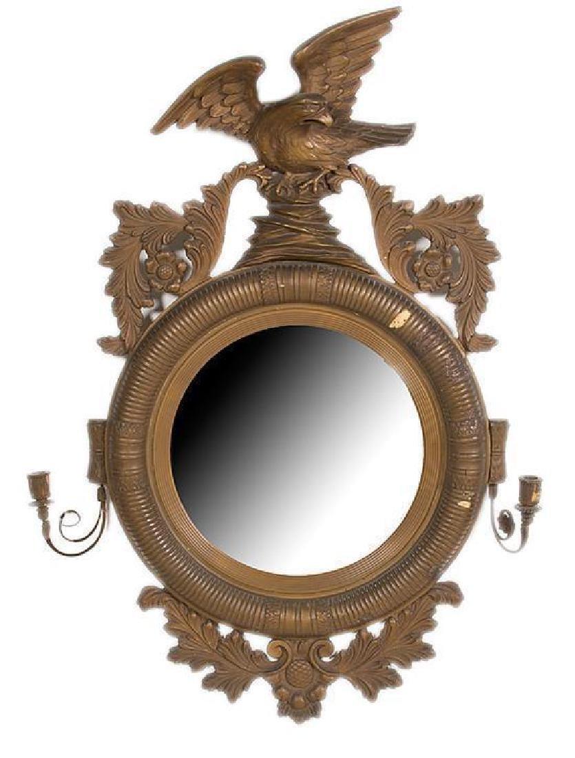 19thc Regency-Style Gilt Wood Convex Eagle Mirror
